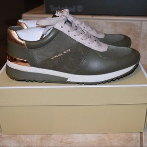MICHAEL KORS Allie Leather and Canvas Sneaker